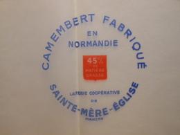 TGE50032 - étiquette D'emballage De Fromage CAMEMBERT DE SAINTE-MERE-EGLISE Manche 50 - Fromage
