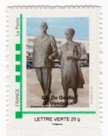 "Timbre Personnalisé ""MonTimbreàMoi"" Charles De Gaulle Yvonne Vendroux Calais 09 Novembre 2013 - Francia"