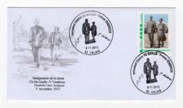 "Enveloppe 1er Jour ""MonTimbreàMoi"" Charles De Gaulle Yvonne Vendroux Calais 09 Novembre 2013 - Francia"