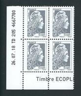COIN DATE YSEULT YZ - L'ENGAGEE - ECOPLI - BLOC DE 4 - DATE : 26/07/18 - NEUF - TTB - 2010-....