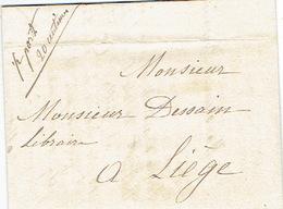 """Précurseur 25/9/1847 Lettre Datée De BRUXELLES Avec Manuscrit """"1/2 Port 20 Centimes"""" Signé épouse DEPREZ Née PARENT - 1830-1849 (Belgique Indépendante)"""