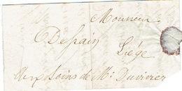 3/2/1857 Lettre Avec Texte Par Porteur BRUXELLES Vers LIEGE - Beau Cachet De J.B. TARRIBE Libraire 8 Rue De L'Ecuyer - Belgique