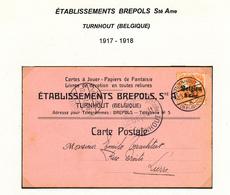 212/28 - CARTES A JOUER Belgique- Carte Publicitaire TP Germania (déf.) TURNHOUT 1917 + Censure - Etablissements BREPOLS - Games