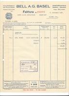 F94 - Facture 1927 Bell Basel Gross Schlächterei Und Wurst Fabrik Avec Cloche Pour Schulthess Sierre - Suisse