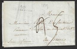 1814 - LAC - 60 CHARENTON 32mm X 8mm (Seine) - Lettre Du Maison Royale De Charenton - Marcophilie (Lettres)