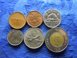 CANADA 1 CENT 1967, 1992, 5 CENTS 1976, 10 CENTS 1968, 25 CENTS 1975, 2 DOLLARS 1996 (6) - Canada