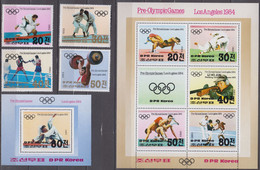 North Korea 20.04.1983 Mi # 2350-53 Bl 142-43 1984 Los Angeles Summer Olympics (II), MNH OG - Estate 1984: Los Angeles