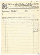 F98 - Facture Rechnung 1927 H. Moersdorff Scherer's Erben Zürich Wollgarnen Pour Schulthess Sierre - Suisse