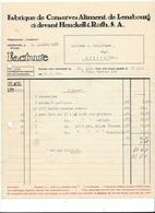 F99 - Facture Rechnung 1927 Fabrique De Conserve Lenzbourg Pour Schulthess Sierre - Suisse