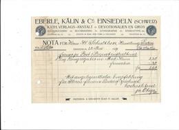 F101 - Facture Rechnung 1927 Einsiedeln Eberle Kälin Buchdruckerei Pour Schulthess Sierre - Suisse