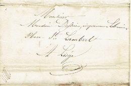 Précurseur 24/9/1847 Lettre Avec Texte Envoyée Par Porteuse De CRISNEE Vers LIEGE - Signé KINET Instituteur - 1830-1849 (Independent Belgium)