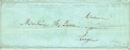 Précurseur 2/9/1847 Lettre Avec Texte Envoyée Par Le Porteur THIRY De DINANT Vers LIEGE - Signé BRICHAUX - 1830-1849 (Belgique Indépendante)
