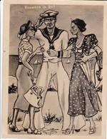 Karikatur Seemann In Not - Deutscher Matrose Mit 2 Frauen - Kriegsmarine Humor - 2. WK - 11*8cm (38634) - Army & War