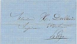 6/4/1868 Lettre Avec Texte Par Messager DISON Vers LIEGE - Signé B. DEBOIS Imprimeur-libraire à DISON - Belgique