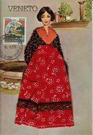 AK - Volksdracht Trachten - Postkaart Met Textiel - VENETO / ITALIA - Europe