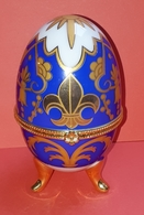 Oeuf En Porcelaine, De Collection, Boite à Bijoux Style Fabergé - Uova