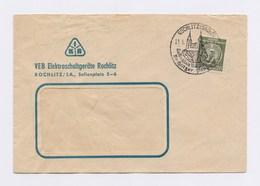 Dienstpost 20Pfg Staatswappen, SSt ROCHLITZ, Rochlitzer Porphyr ... Auf FU Elektroschaltgeräte 1957 - DDR