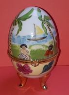 Oeuf En Porcelaine, De Collection, Boite à Bijoux Style Fabergé - Eieren