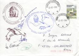 GROENLAND GRØNLAND 187 Lettre Signée GREA Ecological Field Expédition Karupelv Valley 1991 Hibou Owl Eule Polar Pôle Doc - Poststempel