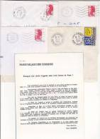 Lot 4 Lettres Oblitération Guichet Annexe PARIS 17 AN2 CONGRES CIP Porte Maillot : TàD Manuel SECAP - Marcofilia (sobres)