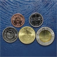 EGYPT COMPLETE COIN SET 5+10+25+50 Piastres + 1 Pound 2008 - 2010 UNC - Egypte