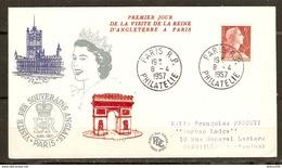 LETTRE FDC VISITE DE LA REINE D'ANGLETERRE A PARIS 8 AVRIL 1957 - Y & T MARIANNE MULLER 1009A - 2 Scans - - FDC