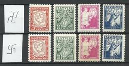LETTLAND Latvia 1936 Michel 242 - 245 Wm Normal + Inverted * - Lettonie