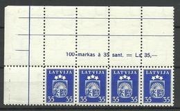 LETTLAND Latvia Lettonia 1940 Michel 289 Als 4-Streife + Bogenrandinschrift Margin Text MNH - Lettonie