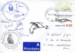 GROENLAND GRØNLAND 233 267 Lettre Signée GREA Ecological Field Expédition Karupelv Valley 1996 Hibou Owl Eule Polar Doc - Postmarks
