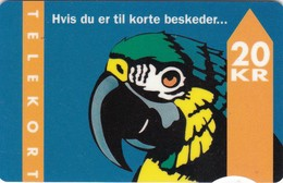Denmark, TD 005A, Parrot With Text, 2 Scans.          Serial Number: 4005 000001-048000  Exp. : 09.93 - Denmark
