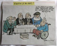 FORMAT CARTE POSTALE TINTIN & MILOU A 90 ANS ILLUSTRATEUR LARGE D APRES HERGE ARTICLE JOURNAL - Old Paper