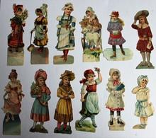 12 Image Découpis Enfants Filles Paysanne Bourgeoise - Children