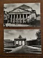 2 Stuks Foto Postkaart Wit - Zwart    Brussel - Jubelpark  -  Koninklijke Muntschouwburg - Monuments, édifices