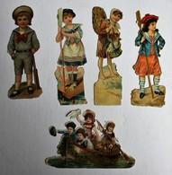 5 Image Découpis Enfants Marin Pêcheuse De Poissons Sport Cricket - Children