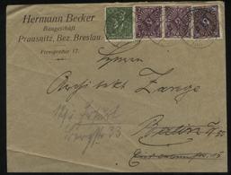 S0526 DR Infla Firmen Brief :gebraucht Prausnitz Breslau - Berlin 1923, Bedarfserhaltung. - Briefe U. Dokumente