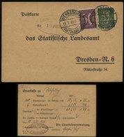 S0457 DR Infla Firmen Postkarte:gebraucht Wehrsdorf - Dresden 1922, Bedarfserhaltung. - Briefe U. Dokumente