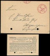 18885 DR Karte Gebühr Bezahlt Stuttgart - Wilhelmshaven 1925, Bedarfserhaltung , Registratur Lochung. - Deutschland