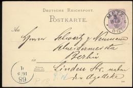 17466 DR Pfennig GS Karte Metz Elsass Lothringen - Berlin 1888 , Bedarfserhaltung. - Brieven En Documenten
