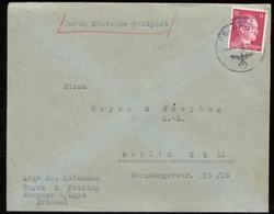 17064 DR Frankreich Belgien Hitler EF Feldpostbrief  Bergues - Berlin 1943, Bedarfserhaltung Ohne Inhalt. - Briefe U. Dokumente