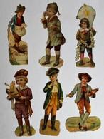 6 Image Découpis Enfants Jeune Garçon Peintre Cerf Volant Paysan - Children