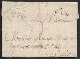 1792 - LAC - 64 PAU 20mm X 9mm (BASSE PYRENEES) Pour PARIS - Marcophilie (Lettres)