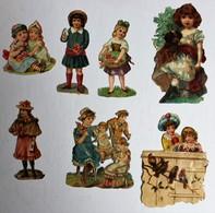 7 Image Découpis Enfants Jeune Fille Chien - Children