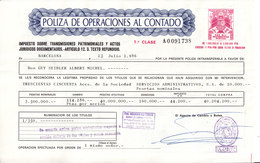 POLIZA DE OPRACIONES AL CONTADO  - V/IMAGE - NOMBREUSES VIGNETTES TAXE AU DOS - Actions & Titres