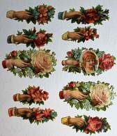 10 Image Découpis Anciens Main De Femme Tenant Bouquet De Fleurs Rose + Enfant Médaillon - Flowers