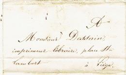 Précurseur 21/01/1847 Lettre Envoyée Par Messager De FLEMALLE-GRANDE à LIEGE - Signé JACQUEMIN Instituteur De FLEMALLE G - 1830-1849 (Belgique Indépendante)