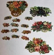 16 Image Découpis Anciens Fleurs Dans Charette Composition Florale - Flowers