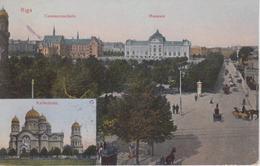 CPA Lettonie - Riga Avec 2 Vues : Commerzschule Et Museum - Kathedrale - Lettonie