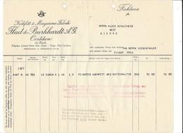 F104 - Facture Rechnung 1927 Oerlikon Kochfett Margarine Fabrik Flad & Burkhardt Pour Schulthess Sierre - Suisse