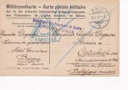 Carte Postale Militaire Prisonniers En Suisse Vers Ostiches Lez Ath  05 01 1917 - Prisonniers