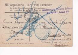 Carte Postale Militaire Prisonniers En Suisse Vers Ostiches Lez Ath 25 10 16 - Guerra '14-'18